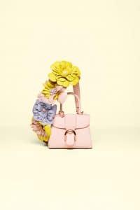 Delvaux Nude Brillant Mini Bag with Rainbow Bandouliere Fleurs