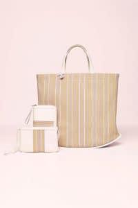 Delvaux Rainbow Toile de Cuir Pin Cabas Bag