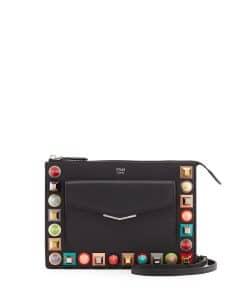 Fendi Black Studded Mini Crossbody Pouch Bag