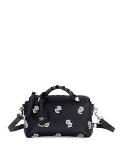 Fendi Black/Blue Floral Embroidered By The Way Mini Bag