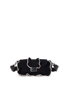 Fendi Black/White Crocheted Baguette Waves Bag
