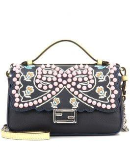 Fendi Blue/Pink Studded Double Micro Baguette Bag