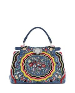 Fendi Blue/Yellow Micro Circle Embroidered Silk Peekaboo Mini Bag