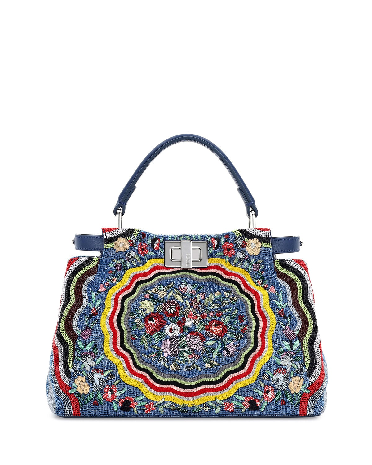 238142942e9 ... Fendi Blue/Yellow Micro Circle Embroidered Silk Peekaboo Mini Bag ...