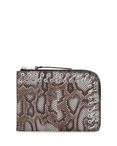 Fendi Brown Python Whipstitch Flat Clutch Bag