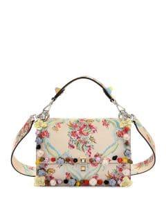 Fendi Cream Floral Kan I Bag