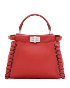 Fendi Dark Red Whipstitch Peekaboo Mini Bag