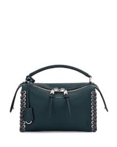Fendi Green Whipstitch Selleria Lei Bag