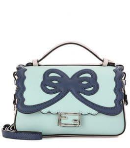 Fendi Light Green/Blue Bow Double Micro Baguette Bag