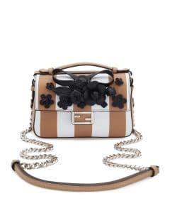 Fendi White/Black Striped Double Micro Baguette Bag