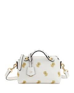 Fendi White/Gold Floral Embroidered By The Way Mini Bag