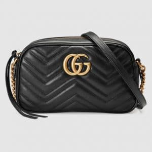 Gucci Black GG Marmont Small Camera Bag