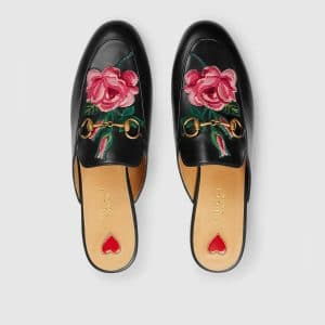 Gucci Black Princetown Floral Embroidered Slipper
