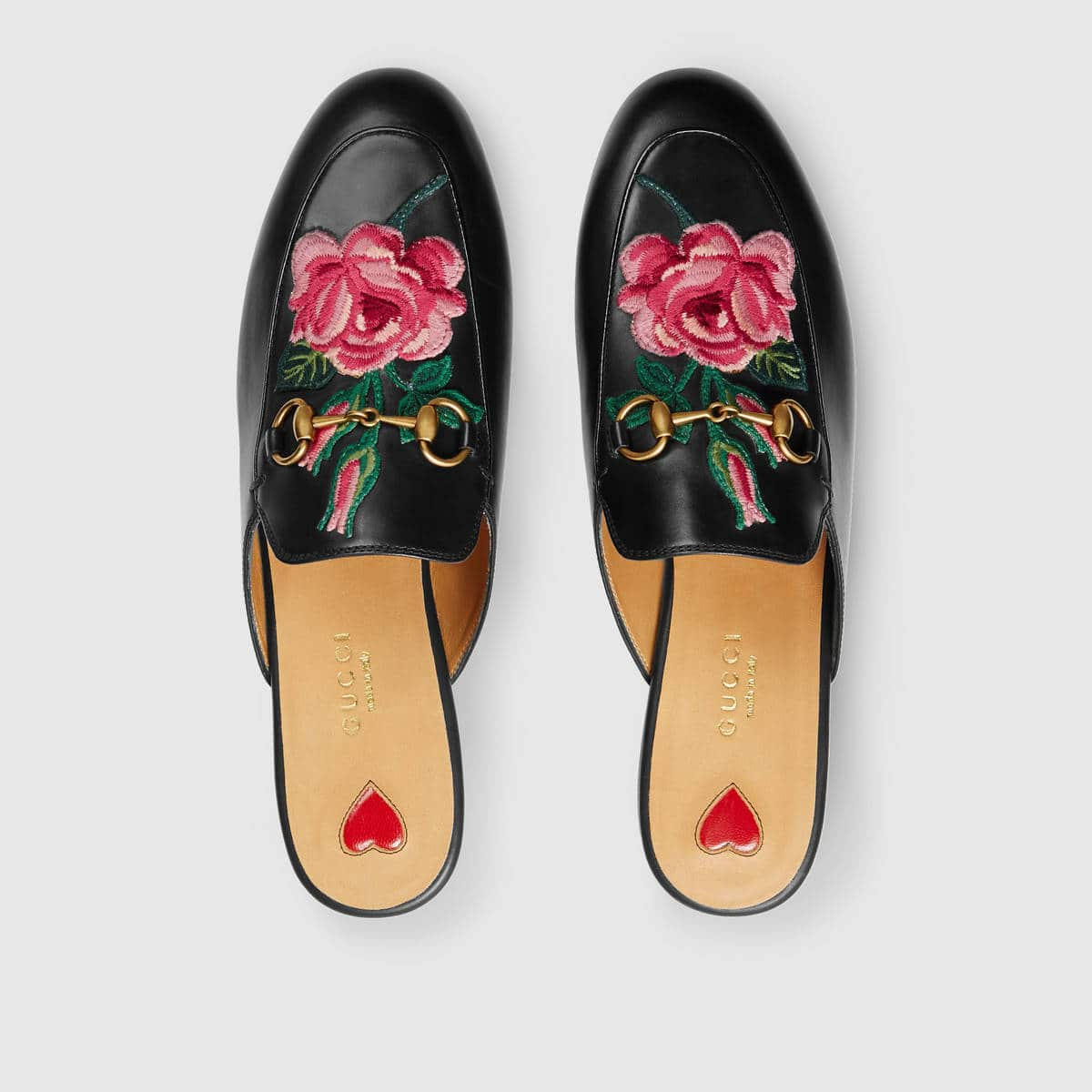 cbf348ceaa3 Gucci Black Princetown Floral Embroidered Slipper
