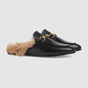 Gucci Black Princetown Fur Trimmed Leather Slipper