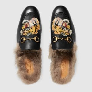 Gucci Black Princetown Tiger Embroidered Slipper