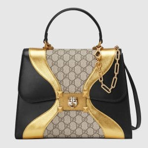 Gucci Black/Gold Leather/GG Supreme Iside Top Handle Bag