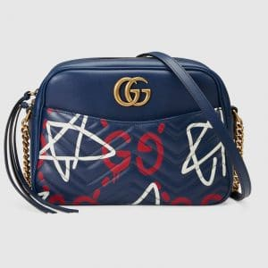 Gucci Blue GucciGhost GG Marmont Medium Camera Bag