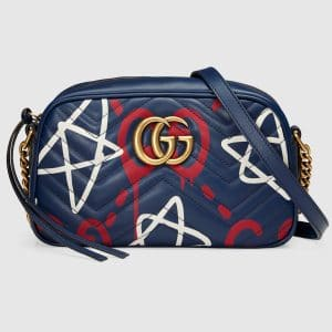 Gucci Blue GucciGhost GG Marmont Small Camera Bag