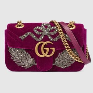 Gucci Bordeaux Feather Embroidered GG Marmont Mini Shoulder Bag