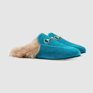Gucci Cyan Princetown Fur Trimmed Velvet Slipper