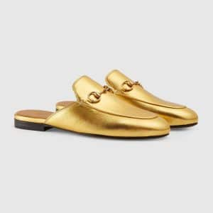 Gucci Gold Princetown Leather Slipper