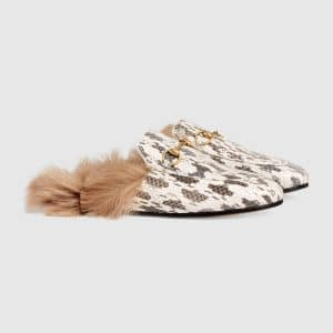 Gucci Grey Princetown Fur Trimmed Snake Slipper