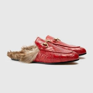 Gucci Hibiscus Red Princetown Fur Trimmed Crocodile Slipper