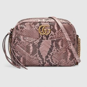 Gucci Light Pink Python GG Marmont Medium Camera Bag