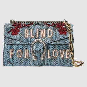 Gucci Marine Blue Embroidered Snakesin Dionysus Small Shoulder Bag