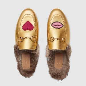 Gucci Metallic Gold Princetown Heart/Mouth Embroidered Slipper