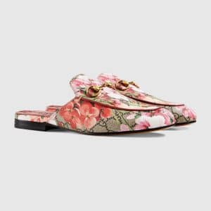 Gucci Pink Princetown GG Blooms Slipper