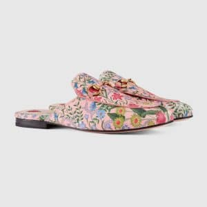 Gucci Pink Princetown New Flora Slipper