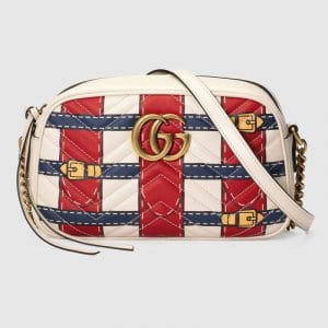 Gucci Red/White/Blue Trompe l'oeil Print GG Marmont Small Camera Bag