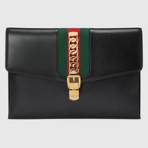 e39c956f5d4 Gucci Sylvie Maxi Clutch Bag · Gucci Black Gold Leather GG ...