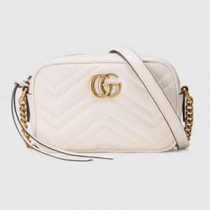 Gucci White GG Marmont Mini Camera Bag