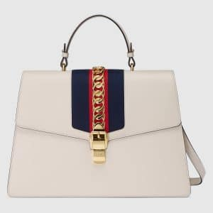 Gucci White Sylvie Maxi Top Handle Bag