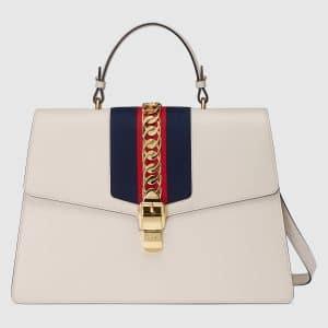 Gucci White Sylvie Maxi Top Handle Bag