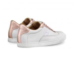 Hermes Blanc/Rose Swift Calfskin/Laminated Nappa Quicker Sneaker 2