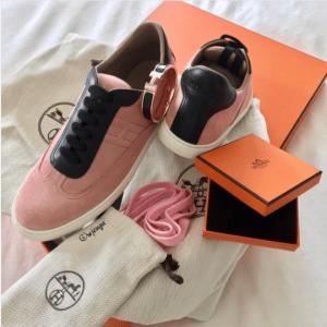 Hermes Grenat/Noir Suede/Swift Calfskin Quicker Sneaker 3