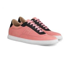 Hermes Grenat/Noir Suede/Swift Calfskin Quicker Sneaker