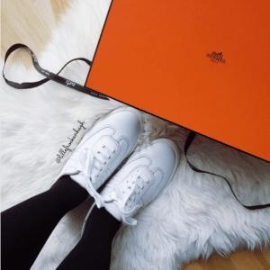 Hermes White Calfskin Quicker Sneaker