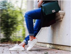 Hermes White/Orange Calfskin Quicker Sneaker 2