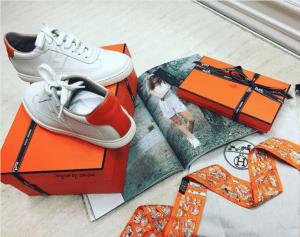 Hermes White/Orange Calfskin Quicker Sneaker 3