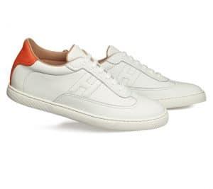 Hermes White/Orange Calfskin Quicker Sneaker