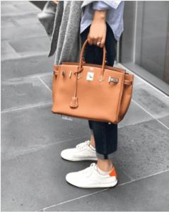 Hermes White/Orange Calfskin Quicker Sneaker 4