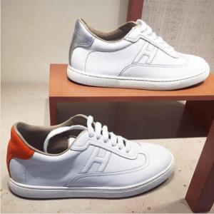 Hermes White/Orange and White/Silver Calfskin Quicker Sneaker