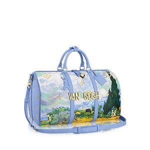 Louis Vuitton Light Blue A Wheatfield with Cypresses Keepall 50 Bag