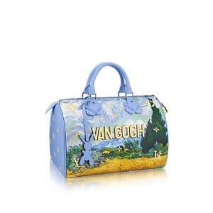 Louis Vuitton Light Blue A Wheatfield with Cypresses Speedy 30 Bag