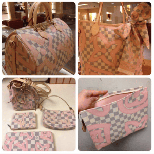 Louis Vuitton Rose Ballerine Damier Azur Tahitienne Bags and Small Leather Goods